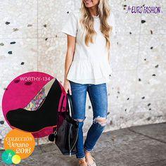 Los skinny jeans rotos son perfectos para combinar con blusas casuales o playeras cómodas dando un toque de informalidad son ideales para destacar el look con tacones corridos como éstos WORTHY Eurofashion.