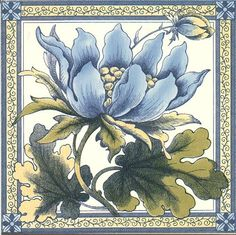 Victorian Tile - Blue Peony