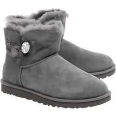 UGG Mini Bailey Button Bling Grey // Lambskin boots with jewel button (16.985 RUB) ❤ liked on Polyvore featuring shoes, boots, mini boots, ugg® australia shoes, gray boots, ugg australia boots and gray shoes