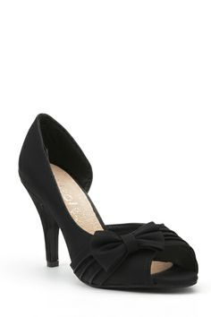 Pleated Bow Mid Heel Shoes