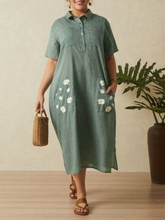Daisy Print Lapel Short Sleeve Vintage Plus Size Dress Plus Size Vintage Dresses, Plus Size Dresses, Work Casual, Suits You, Daisy, Shirt Dress, Sleeves, Cotton, Shirts