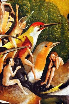 Hieronymus-Jérôme Bosch - Primitif Flamand - Le Jardin des Délices, detail. Jerome Bosh, Art Roman, Garden Of Earthly Delights, Art Story, European Paintings, Catholic Art, Dream Art, Medieval Art, Equine Art