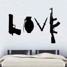 Banksy Love Weapons Wall Sticker 60cm x 86cm