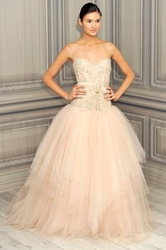 Monique Lhuillier blush pink wedding dress