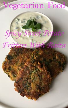 Delicious Asian-style vegetarian food - spicy Indian fritters (pakoras) with sweet potatoes and spinach.