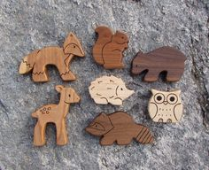 WOODLAND SET 7 Wooden Toy Animals Squirrel by SnapdragonToyCo