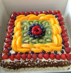 Fresh fruit chocolate sponge cake #freshfruitcake#fresh #homemadecake