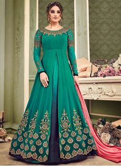 Elegant Resham Work Faux Georgette Floor Length Anarkali Suit