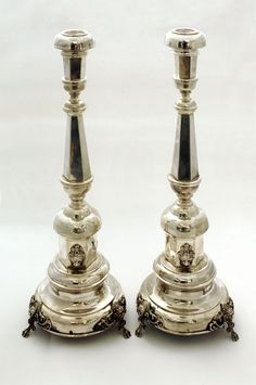 Silver Judaica - Antique Candlesticks Gilt, Candle Holders, Metal, Lantern Candle Holders, Candlesticks, Vintage, Creative Candles, Bronze, Candles