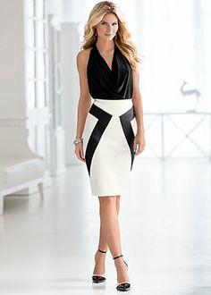 Faux Leather Detail Skirt $36 Venus.com