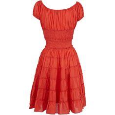 shirred off shoulder dress ($16) found on Polyvore