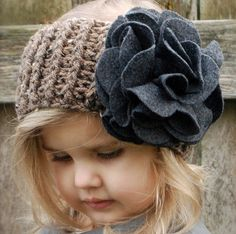 Wish i could crochet just to make this!Crochet PATTERN for a Ear Headband Warmer for a Toddler Child. With Felt flower My Little Girl, My Baby Girl, Little Princess, Knit Crochet, Crochet Hats, Kind Mode, Cute Kids, Crochet Projects, Headbands