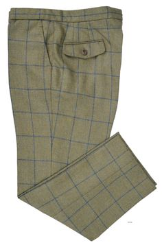 Luxire dress pants constructed in Dugdale Loden Green Windowpane Tweed: http://custom.luxire.com/products/dugdale-blue-windowpane-moss-green-checks-tweed-dugdale_wf_30  Consists of standard extended closure with button fly, front slant pockets and 2 rear pockets with flap.