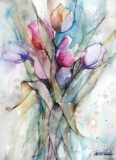 Tulips Painting - Tulips Pink And Purple by Wendy Westlake
