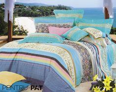Lenjerie de pat 100% bambus Pucioasa cu dungi si model floral Comforters, Blanket, Bed, Floral, Model, Furniture, Home Decor, Homemade Home Decor, Stream Bed