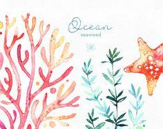 Océano. Algas marinas. Prediseñadas de acuarela bajo el agua