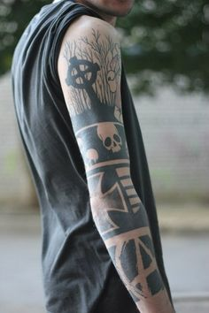 Grave Scull and Anarchy Blackwork tattoo sleeve