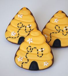 Beehive Sugar Cookies from a Candy Corn Cutter by @Michelle Anna via #TheCookieCutterCompany www.cookiecuttercompany.com