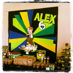 Ben 10 Party, sweet and sour candy table Más Ben 10 Birthday, Little Man Birthday, Birthday For Him, Birthday Party Themes, Ben 10 Party, Alien Party, Sour Candy, Candy Table, Monkeys