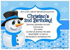 Party Invitation,Snowman Winter Birthday Party Invitationsblue  Crafty Chick Designs,Attractive Winter Party Invitation