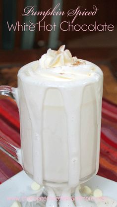 Pumpkin Pie-Spiced White Hot Chocolate: only 3 ingredients (heavy on the chocolate and light on the pumpkin flavor, but super easy).