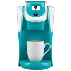 Keurig K200 Coffee Maker, Turquoise ($120) ❤ liked on Polyvore featuring home, kitchen & dining, small appliances, kitchen, turquoise, keurig espresso maker, single serving coffee maker, single serve brewers, colored coffee makers and espresso coffee machine