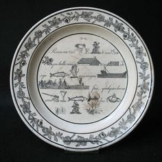 1820 ASSIETTE FAIENCE FINE REBUS CREIL MONTEREAU ANTIQUE FRENCH PLATE