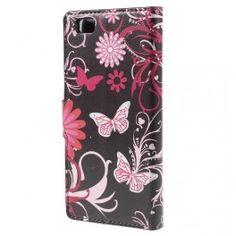 Huawei P8 Lite kukkia ja perhosia puhelinlompakko.