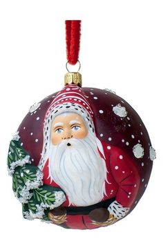 Vaillancourt 'Jingle Ball Santa with Tree' Round Ornament available at #Nordstrom