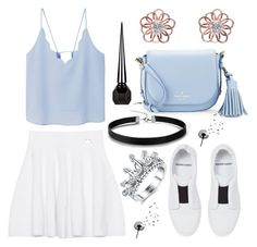 """""""summer bleue white"""" by fayzam ❤ liked on Polyvore featuring MANGO, Kenzo, Pierre Hardy, Kate Spade, kitsch island and Christian Louboutin"""