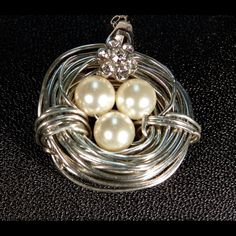 Bird Nest Neaklace 3 pearls bird nest. SS chain 16 in. Anti-tarnish silver color wire and Swarovski pearls. Jewelry Necklaces