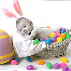 Dylans first easter #easterbunny #littledylan #easter #easterpic #basketofeggs #dylaninabasket #bunny