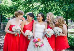 bright coral-y red bridesmaid dresses from Little Borrowed Dress