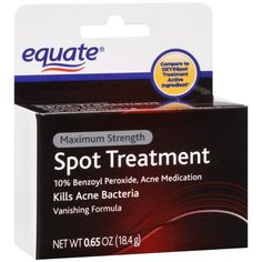 Equate Spot Treatment Max Strength .65oz Compare to Oxy Spot Treatment by Equate. $2.29. Kills acne bacteria. Compare to Oxy Spot Treatment. 10% Benzoyl Peroxide. Vanishing formula. Treats acne, dries up acne pimples, helps prevent new acne pimples.. Save 67%!