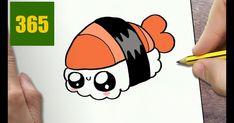 How to draw a sushi cute, easy step by step drawing lessons 365 Kawaii, Arte Do Kawaii, Kawaii Art, Kawaii Anime, Drawing Cartoon Characters, Character Drawing, Cartoon Drawings, Cartoon Illustrations, Easy Drawings For Kids