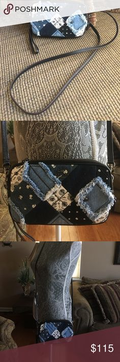 """Coach Crossbody Clutch in Canyon Quilt Denim-NWT This Coach Canyon Quilt Denim Crossbody is calling for you to have  for the fall season .  The prairie inspired patchwork denim and rich black pebbled leather are making a statement with tiny skulls hidden among the floral pattern.The opening has two zipped compartments for security and organization.  The purse measures 8"""" L, 4.5"""" H and 1.75"""" W. The strap is adjustable from 20"""" to 24"""". And keep in mind, this would make a great holiday gift…"""