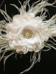 Bridal Hair Fascinator, White Lace Chiffon Feather Fascinator. Ivory Hair Flower Girl Hair Clips, Dance Costume Hair Bow, Baptism Hair piece