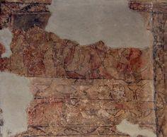 La magdalena ungiendo los pies de Cristo en casa de Simón el fariseo. Primera mitad del siglo XIV. Primera mitad del siglo XIV. Pintura al fresco del Convento de San Pablo de Peñafiel (Valladolid, Spain).
