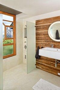 wood bathroom accent wall