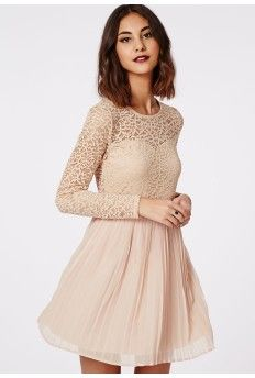 This pretty pleated party dress is a must-have this season. The nude skater dress with pleated skirt, luscious long sleeve lace top with under sweetheart style, keyhole fasten to reverse and cinched waist make this dress a beaut. Party Dresses Uk, Sexy Party Dress, Formal Dresses Online, Short Dresses, Cut Out Skater Dress, Skater Skirt, Robes Midi, Lace Bridesmaid Dresses, Pink Bridesmaids