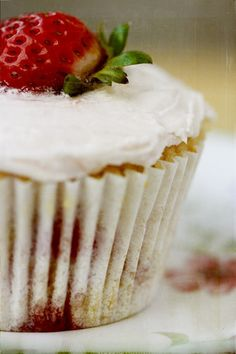 High Tea 5 x 7 Print. Food Photography. Strawberry, Cupcake, Vintage Plate, Food, Cake, Red, Pink, Floral. $18,00, via Etsy.