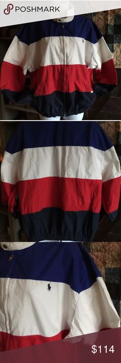 Men's VERY RARE VINTAGE POLO Ralph Lauren jacket Excellent vintage! A pinch of fading (on the lower blue) & some very minor discolor (a yellowish cast) -(barely noticeable)on the inside neck other than that ~AWESOME, VERY RARE, UNIQUE & so for the Polo~Ralph Lauren, patriotic vintage lover!❤️ very rare, I have yet to find another like it! VINTAGE 80's-90's POLO by Ralph Lauren red white & blue jacket! This is a men's vintage Large but may run a hair small. Best guess is a med. to lg. This…