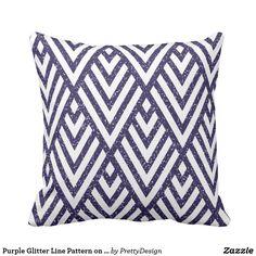 Purple Glitter Line Pattern on Pillow