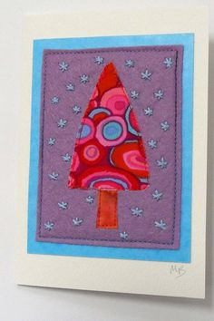 Jolly Christmas Tree Card- red, blue, purple