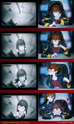 Mystic messenger 707 and MC by MeryChess <<< this shit is so cute<<< vanderwood is judging Mystic Messenger 707 Route, Mystic Messenger Characters, Mystic Messenger Fanart, Mystic Messenger Memes, Manga Anime, Anime Art, Jumin X Mc, Luciel Choi, Anime Sensual