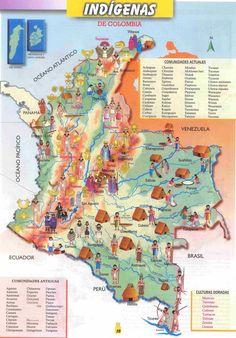 Mapas de Colombia: MAPA DE LOS INDÍGENAS DE COLOMBIA Ecuador, Colombia South America, Colombia Travel, Natural Park, American Country, Countries Of The World, Places To Visit, History, Travelling