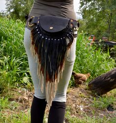 Large pouch belt with leather fringe fanny pack. (LOVE!!)