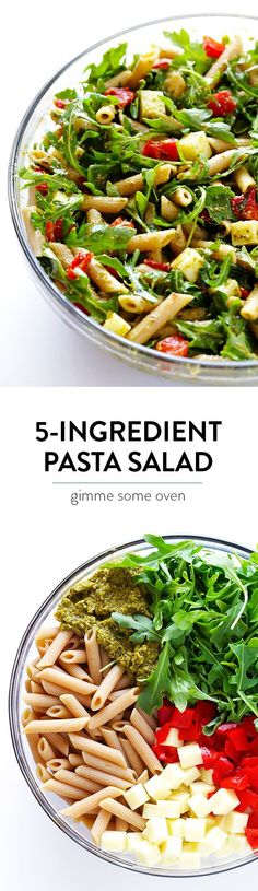 5 Ingredient Pasta Salad Recipe -- quick and easy to prepare, and full of the BEST Italian flavors.  Perfect for potlucks, picnics, or just a regular weeknight dinner.   gimmesomeoven.com #pasta #pastasalad #italian #pesto #recipe