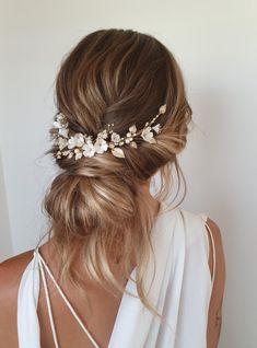 WISTERIA Floral bridal hair piece wedding headpiece with Headpiece Wedding, Bridal Headpieces, Wedding Veils, Chignon Wedding, Wedding Garters, Floral Headpiece, Indian Headpiece, Gatsby Headpiece, Chapel Wedding