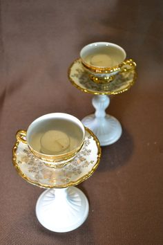 Vintage China Candle Holder Teacup Set Sabby by TeaTimesCreations, $60.00...I think these could easily be made!
